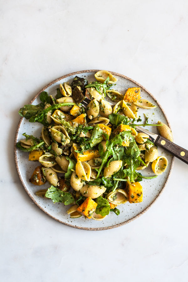 Vegan Roasted Vegetable Chickpea Lentil Pasta with Arugula Pesto