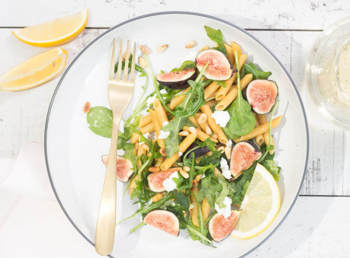 Pasta with Figs, Goat Cheese & Pine Nuts