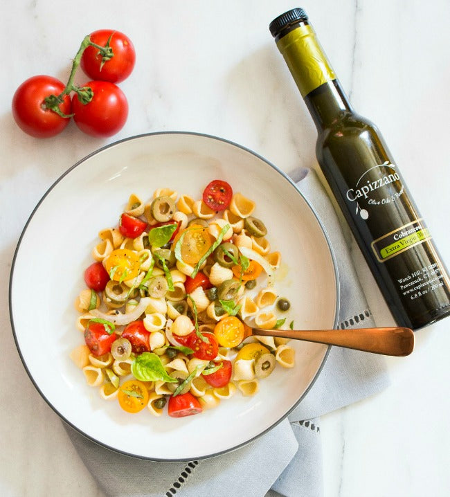 Easy Pasta Salad with Tomotoes, Olives & Basil