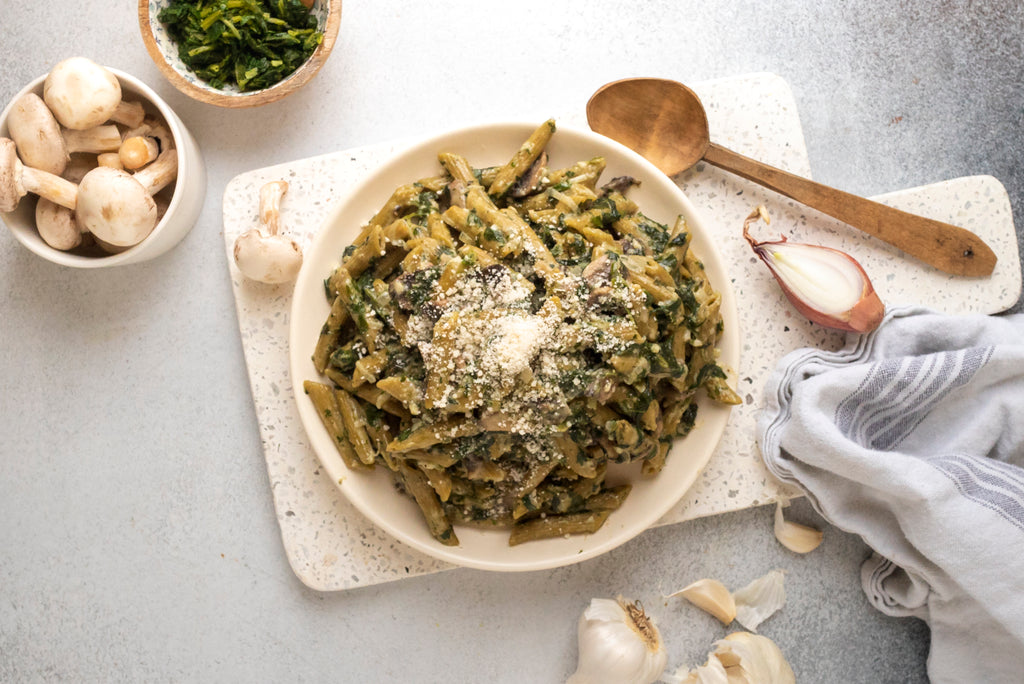 Sautéed Spinach and Mushroom +Greens Penne
