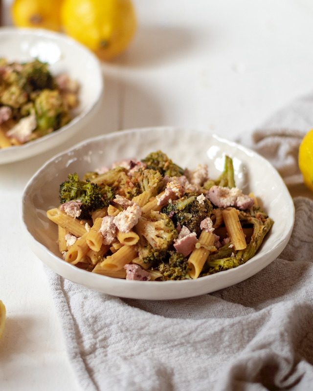 Roasted Broccoli and Feta Penne