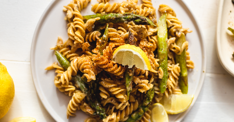 Spirals with Roasted Asparagus and Garlic Butter