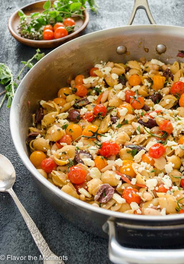 Greek Pasta Skillet with Burst Cherry Tomotoes