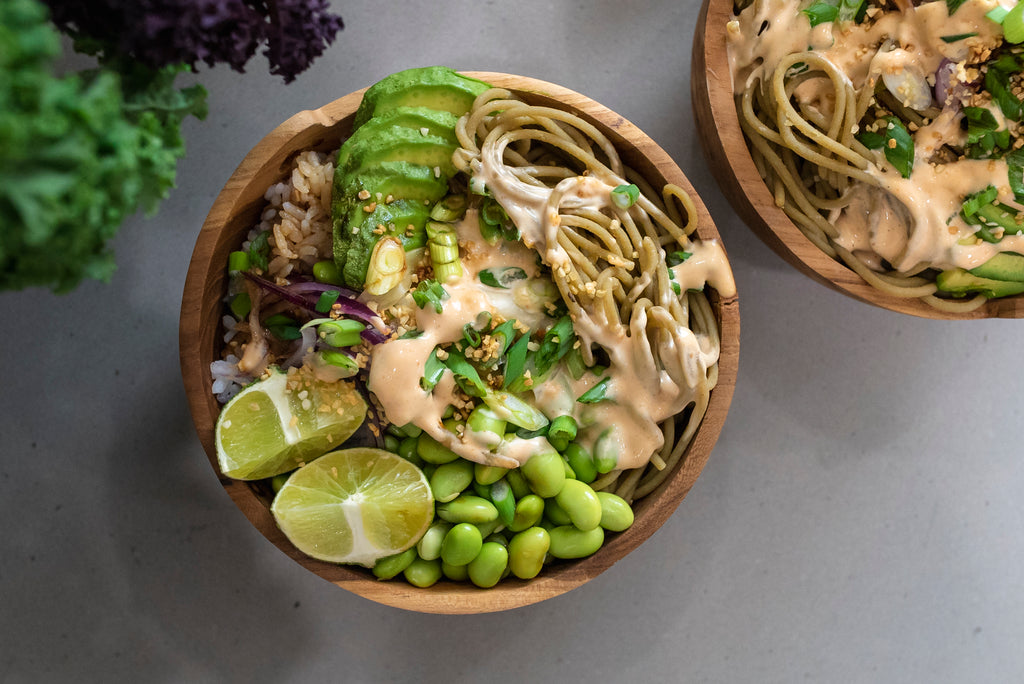 Spicy Mayo Spaghetti Sushi Bowl with +Greens