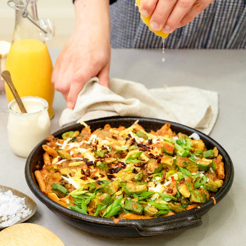 Chickapea Vegan Hash Brown and Pasta Breakfast Skillet