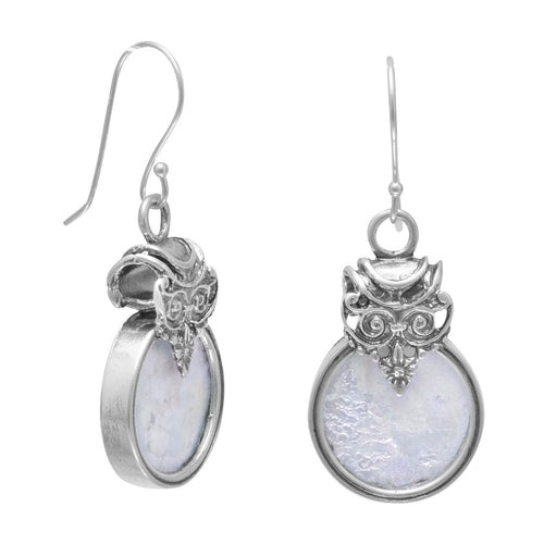 Ancient Roman Glass Earrings Circle Design Sterling Silver