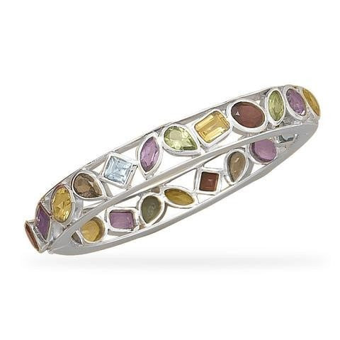 Hinged Bangle Bracelet with Amethyst, Topaz, Citrine, Garnet, Peridot and Quartz