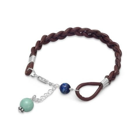 Braided Leather Bracelet with Lapis Lazuli and Turquoise Beads