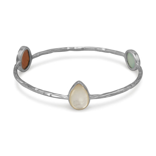 Moonstone, Chalcedony & Pearl Bangle Bracelet in Hammered Sterling Silver