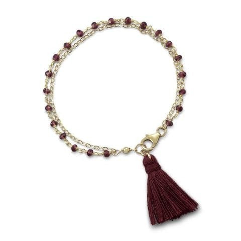 Double Strand Bracelet with Garnet and a Tassel
