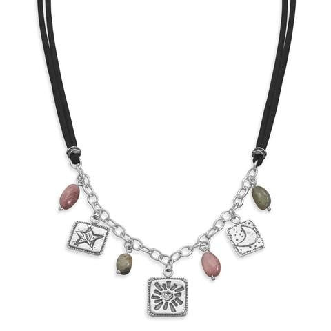 Tourmaline and Charm Cord Necklace