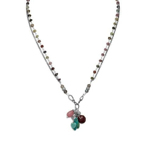 Baila Luna Oxidized Multistone Drop Necklace with Tourmaline and Turquoise