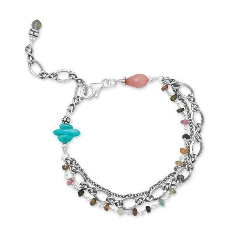 Baila Luna Oxidized Tourmaline, Turquoise and Multistone Bracelet