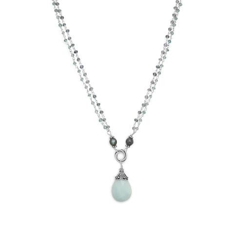 Baila Luna Mint Chocolate Labradorite Drop Necklace