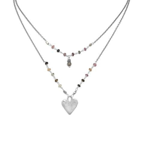 Baila Luna Joyful Heart Necklace with Tourmaline and Labradorite