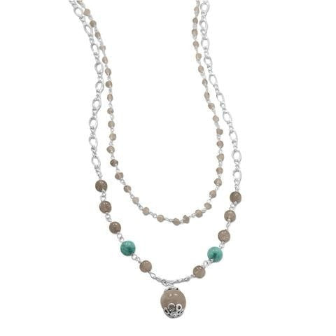 Baila Luna Labradorite and Amazonite Drop Necklace
