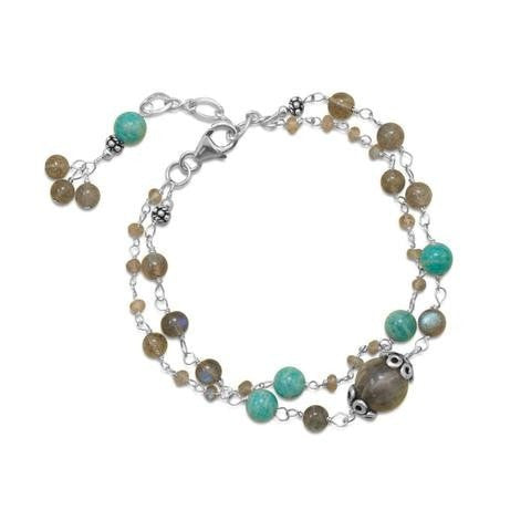 Baila Luna Labradorite and Amazonite Bracelet