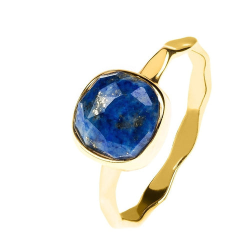 Lapis Lazuli Stackable Ring Sterling Silver 22K Gold Plated