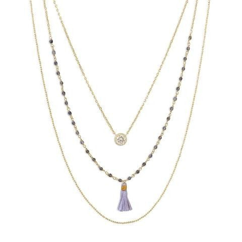 Triple Strand 14 Karat Gold Plated Necklace with Tassel and Labradorite