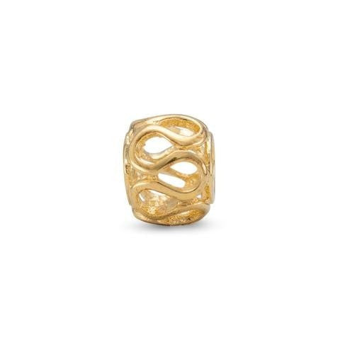 14 Karat Gold Plated Wave Design Story Bead