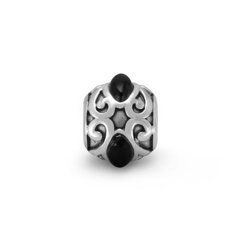 Oxidized Story Bead with Black Onyx