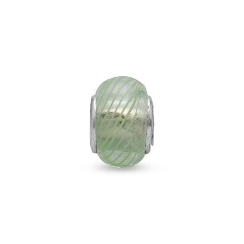 Clear Glass Story Bead with Green Lines