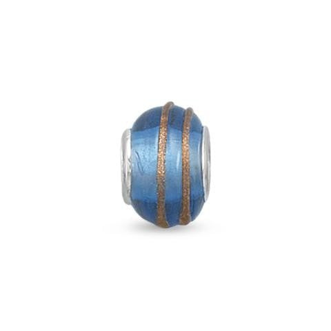 Blue and Gold Glass Story Bead