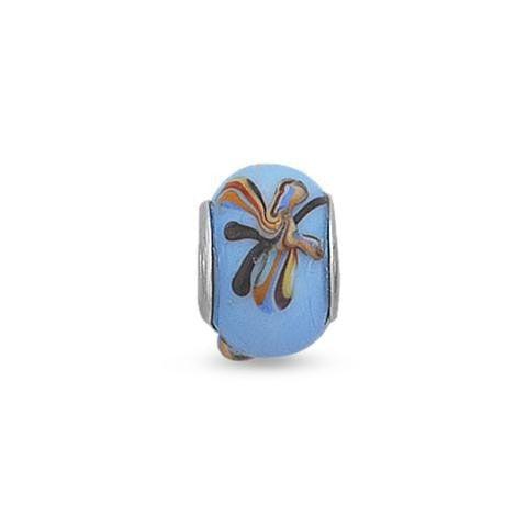 Blue Butterfly Glass Story Bead