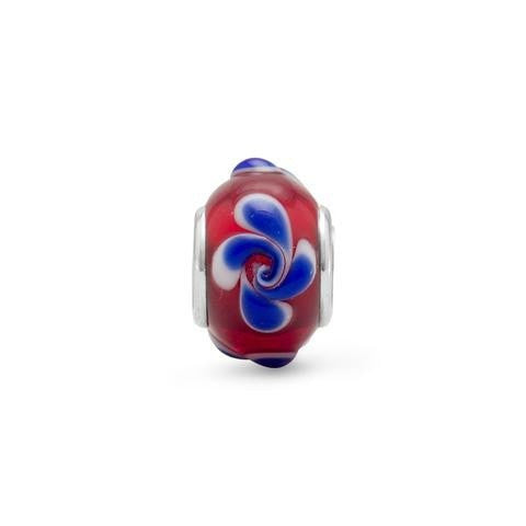 Red Glass Story Bead with Blue Swirl Design