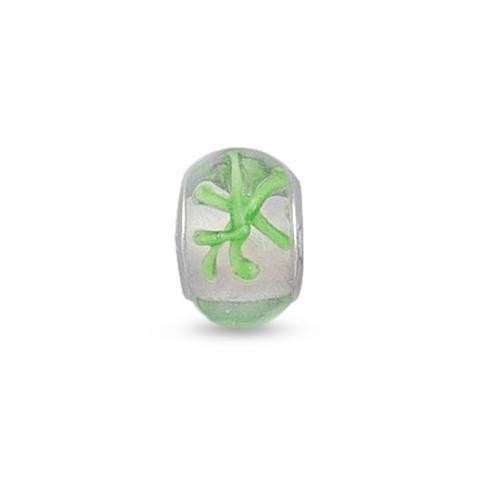 Clear Glass Story Bead with Green Abstract Design