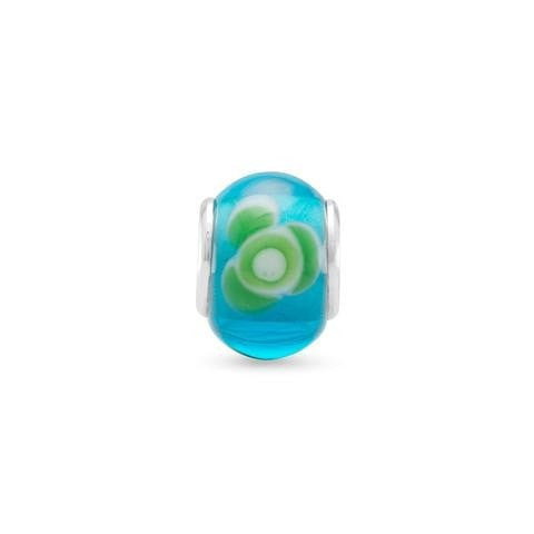 Aqua Glass Story Bead with Green and White Floral Design