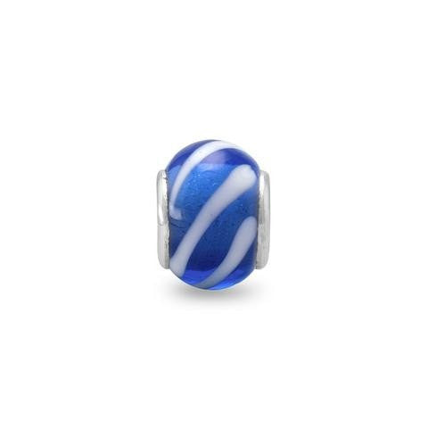 Dark Blue Glass Story Bead with White Lines