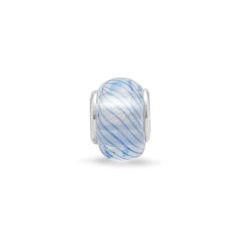 Clear Glass Story Bead with Dark Blue Lines