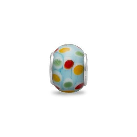 Blue Glass Story Bead with Multicolor Polka Dots