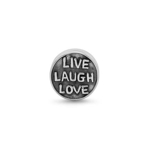 "Oxidized ""Live Laugh Love"" Story Bead"