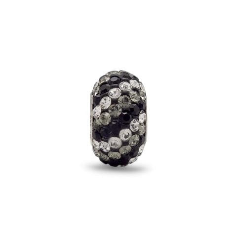 Black, Grey and Clear Crystal Story Bead