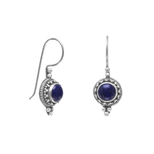 Round Lapis Lazuli Rope Edge Earrings on Sterling Silver French Wire