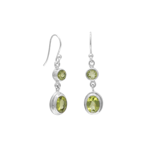 Peridot Drop Earrings Multishape on Sterling Silver French Wire