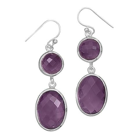 Amethyst Drop Earrings- Sterling Silver French Wire