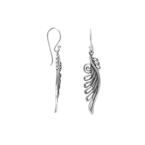 Angel Wings Earrings~ Sterling Silver~ Ornate French Wire