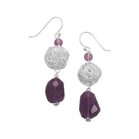 Amethyst and Wire Bead Earrings