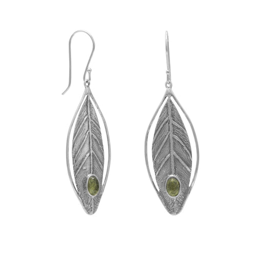 Peridot Earrings in Sterling Silver Leaf Design