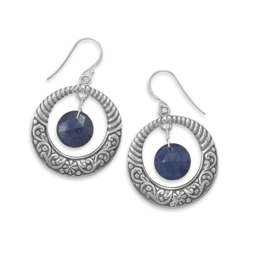 Oxidized Sterling Silver Open Circle Earrings with