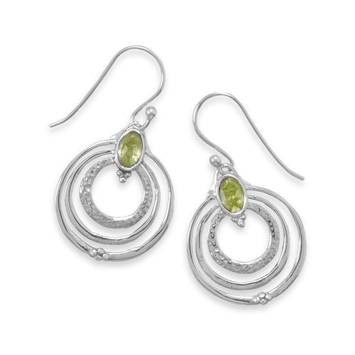 Peridot Earrings in Sterling Silver Triple Hoops