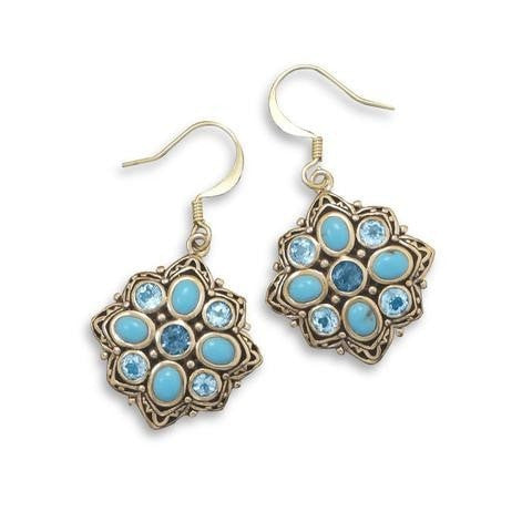 Bronze Earrings with Blue Topaz and Reconstituted Turquoise
