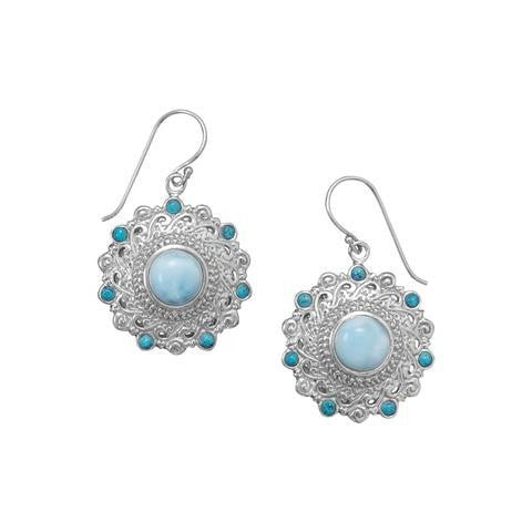 Larimar and Shattuckite Earrings