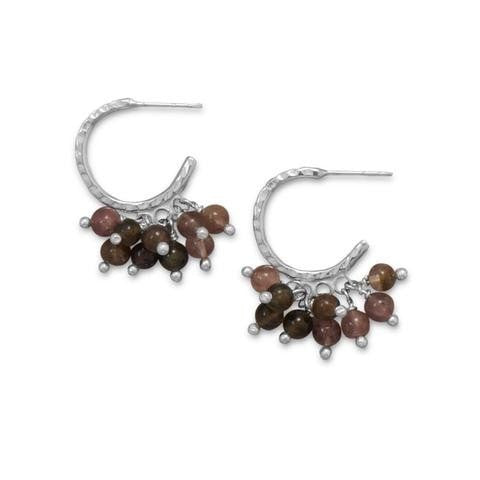 Hammered Half Hoop Earrings with Tourmaline Beads