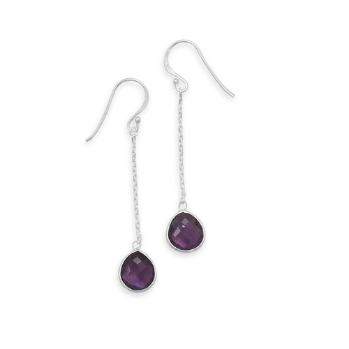 Amethyst Drop Earrings on Sterling Silver Chain