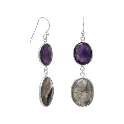 Amethyst and Labradorite Drop Earrings Sterling Silver French Wire