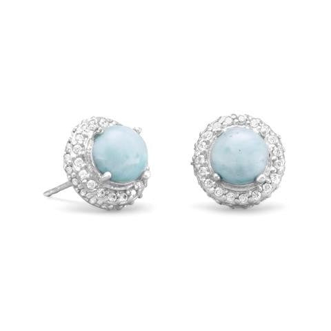 Rhodium Plated Round Larimar and CZ Earrings